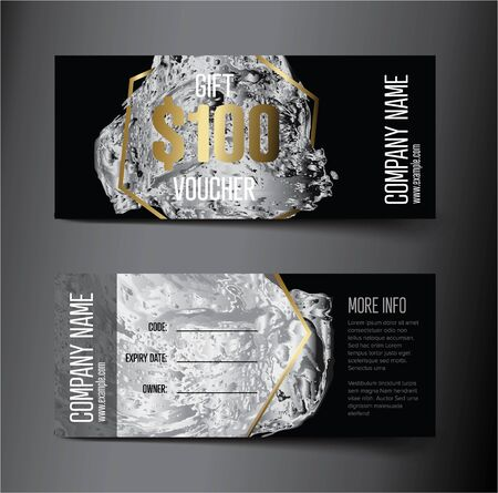 Voucher gift card template with luxury modern illustration - front and back layout