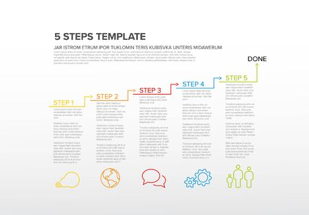 One two three four five - vector five steps progress template infochart blocks with sample content