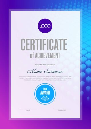 Modern certificate of achievement template with place for your content