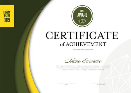 Plantilla moderna de certificado de logros con lugar para su contenido: diseño sólido en amarillo y verde Ilustración de vector