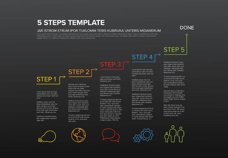 One two three four five - vector five steps progress template infochart blocks with sample content - dark version
