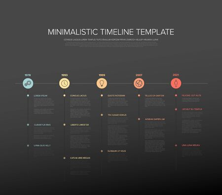 Simple pastel colors timeline template with icons and descriptions  イラスト・ベクター素材