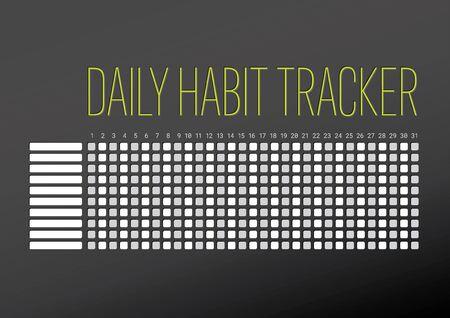 Plantilla de seguimiento de hábitos diarios para diez objetivos y un mes: versión oscura con acento verde