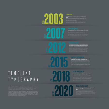 Vector Infographic typographic timeline report template with the biggest milestones years and description - dark version