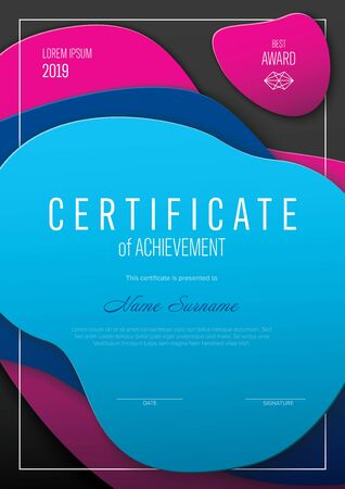 Modern certificate of achievement template with place for your content - modern abstract shapes Vector Illustratie