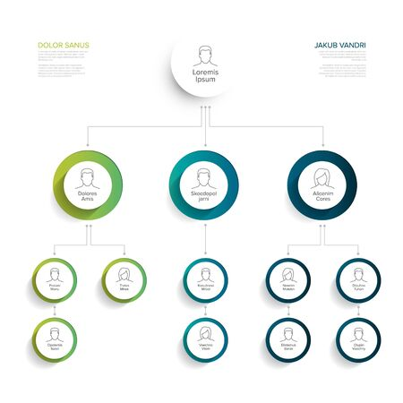 Minimalist company organization hierarchy chart template - blue and green version with icons