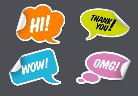 Set of Comic Clouds speech bubbles as stickers and labels