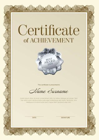 Modern certificate of achievement template with place for your content - golden design vertical version with silver seal