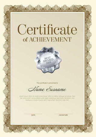 Modèle de certificat de réussite moderne avec place pour votre contenu - version verticale design doré avec sceau argenté