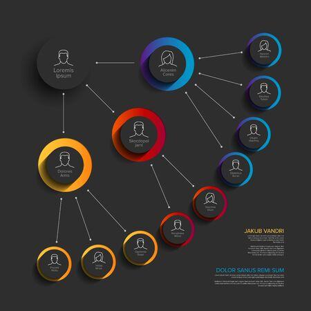 Minimalistische Unternehmensorganisationshierarchie-Diagrammvorlage - blaue, rot-gelbe Version mit Symbolen Vektorgrafik