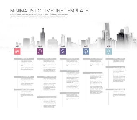 Simple timeline template with square icons, descriptions and city skyline