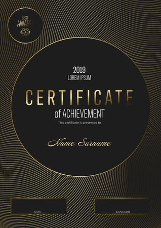 Modern certificate of achievement template with place for your content - modern dark version