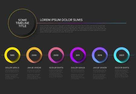 Vector Infographic timeline template with horizontal line, circle buttons with shadow and various descriptions - dark background version
