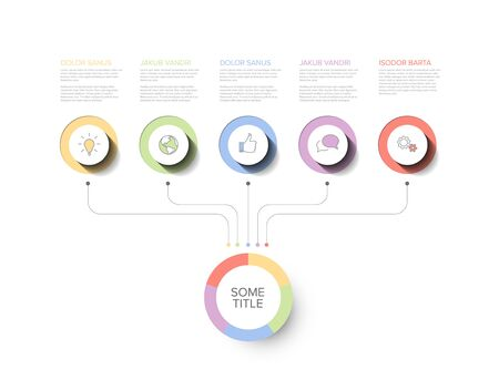 Vector multipurpose Infographic template with title and five elements options and modern pastel colors on a white  background