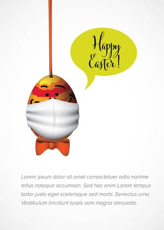Happy Easter card - Funny egg with white face mask against coronavirus