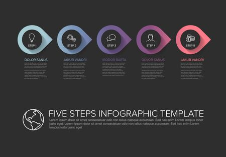 One two three four five - vector progress template with five steps and description - dark background version