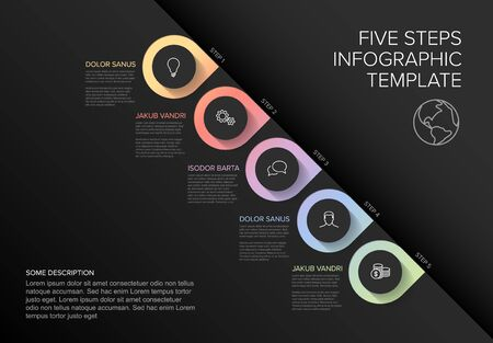 One two three four five - vector diagonal progress template with five steps and description - dark background version 向量圖像