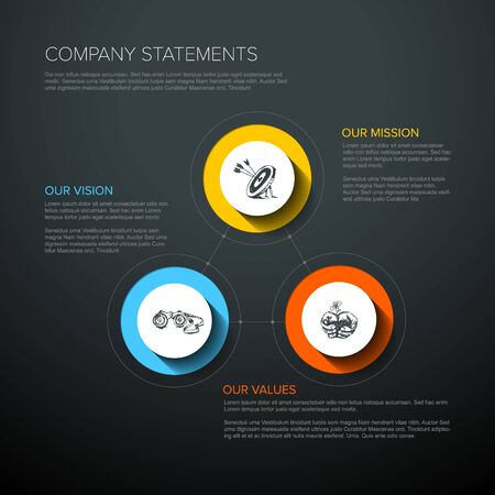 Vector Mission, vision and values diagram schema infographic - vivid colors on a dark background