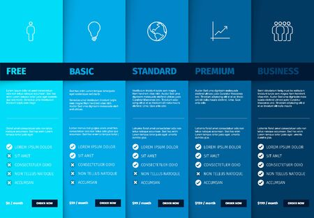 Products service feature compare list table template with various options, description, features and prices - deep blue color version Illustration