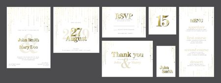 Modern light Wedding suite collection card templates with golden labels and decorations - invitation, save the date card, rsvp, thank you card, table number, table name card, menu