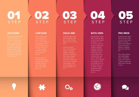 One two three four five - vector progress block steps template with descriptions and icons - red colors version Векторная Иллюстрация