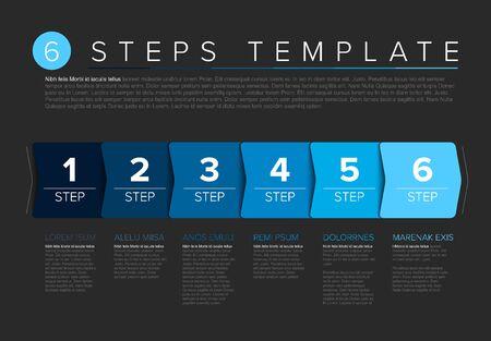 Vector progress steps as arrows template with descriptions - dark blue version