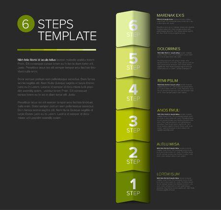 progress steps as arrows template with descriptions - dark green vertical version