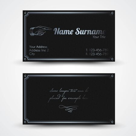 Vector old-style retro vintage business card - both front and back side, dark with silver color