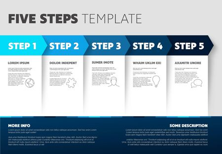 One two three four five - blue light progress steps template with descriptions and icons