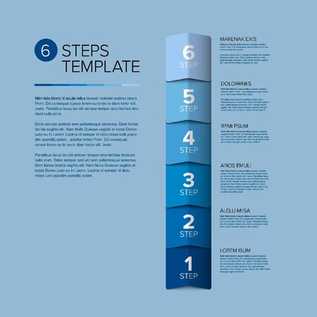 Vector progress steps as arrows template with descriptions - solid blue vertical version