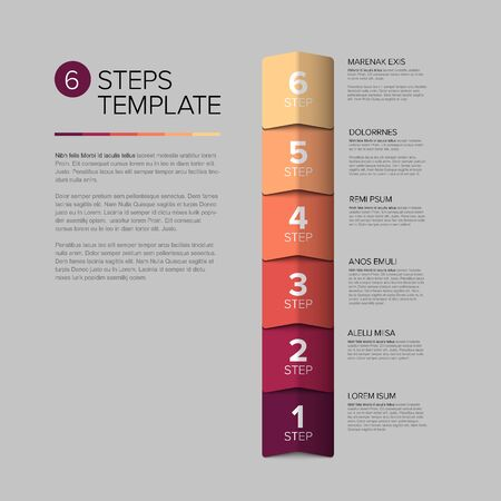 Vector progress steps as arrows template with descriptions - red vertical version
