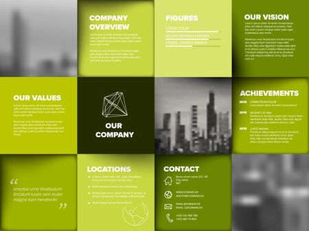 Company profile template - corporation main information presentation - green version with black and white photo placeholders