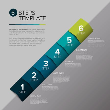 Vector progress steps as arrows template with descriptions - teal diagonal version