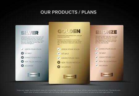 Cartes de modèle de schéma de caractéristiques du produit avec trois services, listes de fonctionnalités, boutons de commande et descriptions - version métallique