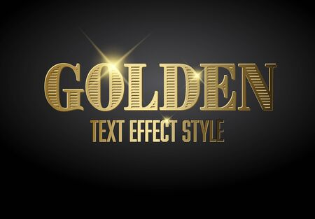 Golden text effect template with sparkles on a dark background