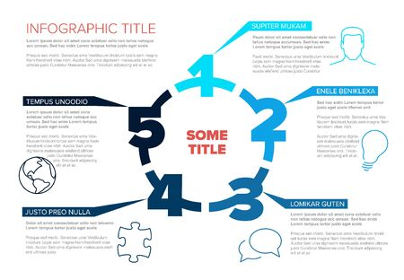 One two three four five - vector paper five steps cycle progress template infochart blocks with sample content - blue version