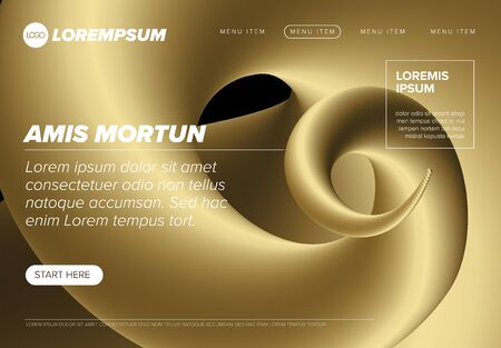 Modern premium web landing page,background template with golden accent Vector Illustration