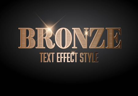 Bronze text effect template with sparkles on a dark background