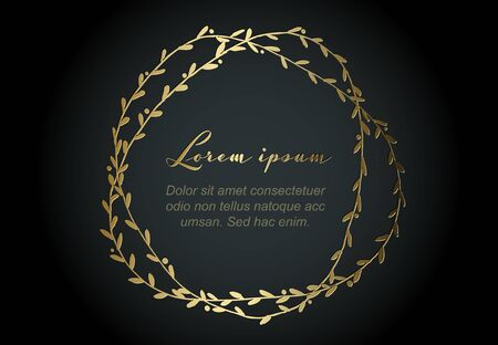 Golden flower frame illustration template made from various flowers - funeral card template