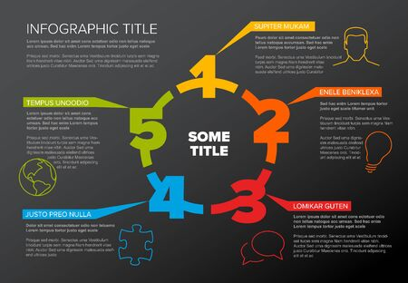 One two three four five - vector paper five steps cycle progress template infochart blocks with sample content - dark color version