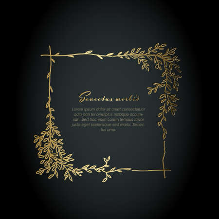 Golden flower square frame illustration template made from various flowers - funeral card template