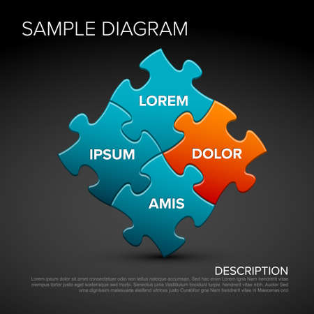 Vector multipurpose puzzle infographic schema diagram - blue dark version with sample texts Illustration