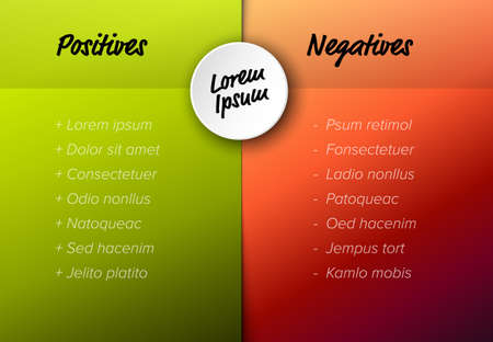 Vector template for positives and negatives with sample items - red and green version