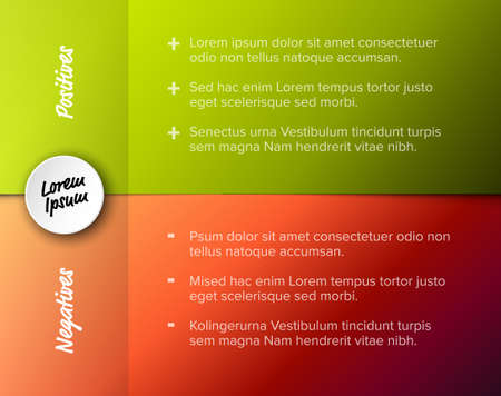 Vector template for positives and negatives with sample items - red and green horizontal version