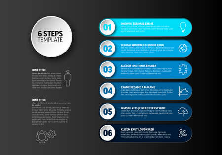 One two three four five six - vector progress steps template with descriptions and icons - deep blue version Ilustracje wektorowe