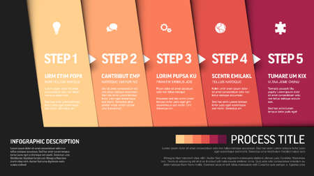 One two three four five - vector progress block steps template with descriptions and icons on diagonal blocks