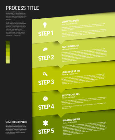 One two three four five - vector progress block steps template with descriptions and icons on diagonal blocks - green vertical version