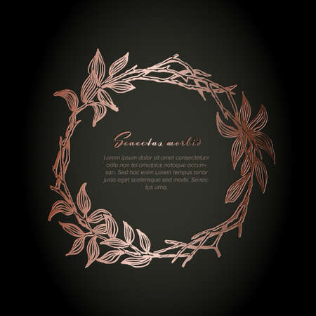 Pink metallic flower circle frame illustration template made from various flowers - funeral card template