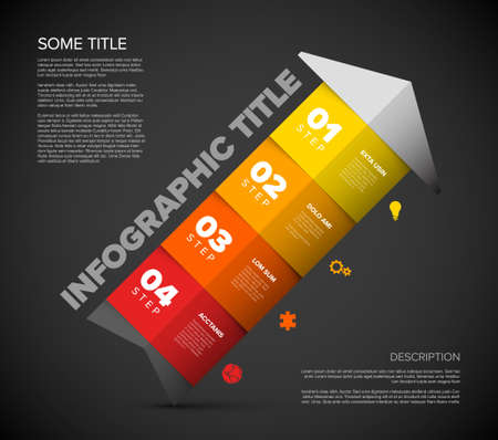 One two three four - vector colorful arrow progress steps template with descriptions and icons - diagonal direction version Illustration