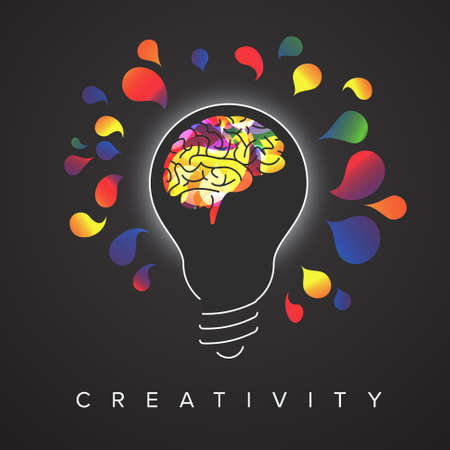 Thinking concept illustration with light bulb silhouette with colorful brain inside and light color spots around - dark version